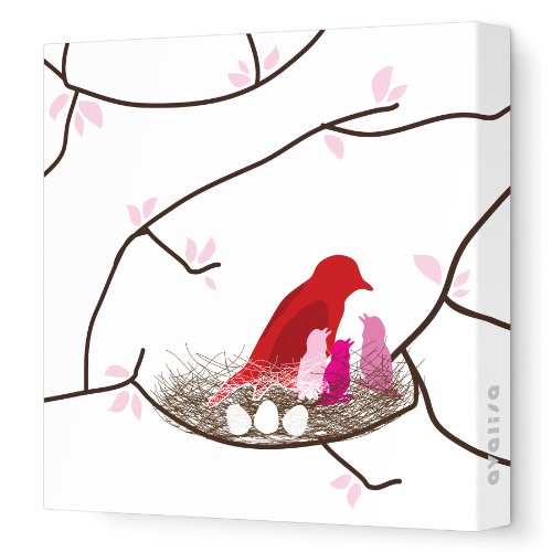 "Avalisa Stretched Canvas Nursery Wall Art, Bird Nest, White/Pink, 28"" x 28"""