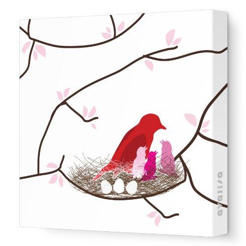 "Avalisa Stretched Canvas Nursery Wall Art, Bird Nest, White/Pink, 28"" x 28"""