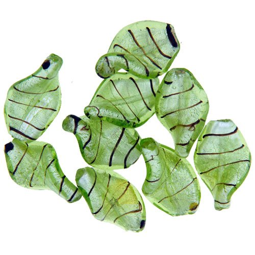 Twisted Leaf Shaped Green Murano Glass Bracelet Loose Beads