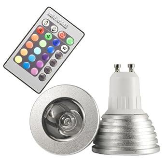 ampoule 3w gu10 avec avec 16 changement de couleur led led rvb t l commande id al pour. Black Bedroom Furniture Sets. Home Design Ideas