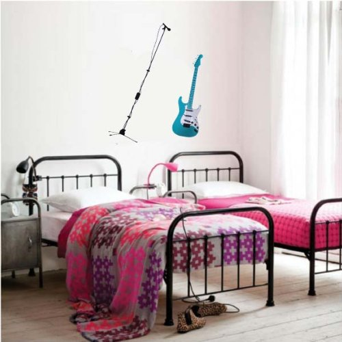 PeelCo  Blue Music Electric Guitar Instrument Wall Decal Sticker for Home - 1