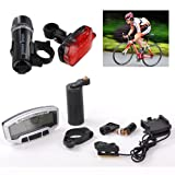 EEEKit Waterproof Bike/Bicycle Computer Odometer Speedometer Stop Watch With LCD Display and Blue Backlight + Bicycle Light Set Super Bright 5 LED Headlight + Rear Flashlight 3 LED TailLight