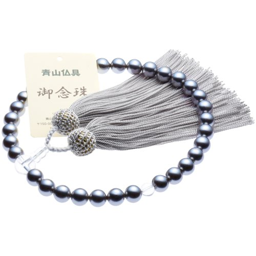 [Buddhist Aoyama] black Butterfly shell Pearl ( mother Pearl ) Rosary beads for ladies ( main Pearl 8 mm ) Rosary bag (put Rosary), can be used in all denominations with [managing]