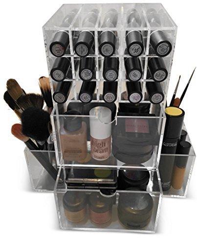 Oi Labels - Organizer per trucchi / cosmetici / gioielli / smalti / profumi, trasparente, struttura verticale, in acrilico 3 mm