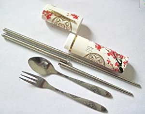 China Style NEW Travel Cutlery Stainless Steel Portable Cutlery Set(folding Chopsticks+spoon+fork)