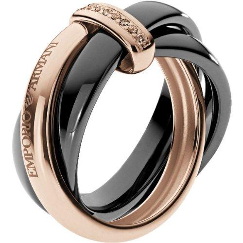 Emporio Armani Damen-Ring 925 Sterling Silber Zirkonia braun Gr.53 (16.9) EG3081221-6.5