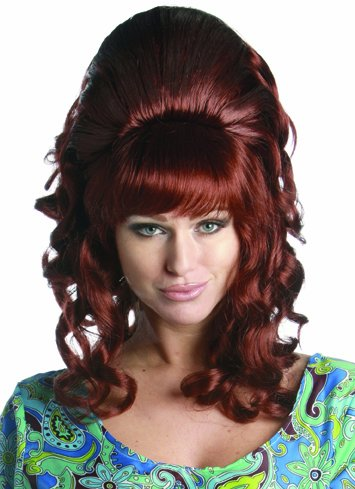Red Bouffant 60s 70s Retro Updo Halloween Costume Wig Adult