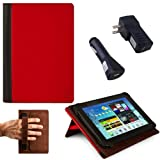RED, Black Hard Cover Portfolio Jacket Mary Case, Stand Alone, Lightweight, Protective Slimline Sturdy, Flip Folio Book Style Design For Acer Iconia A110 7-inch Tablet ( Acer Iconia A110 Case ) + BLACK Travel USB Car Charger Kit + BLACK Travel USB Home Charger