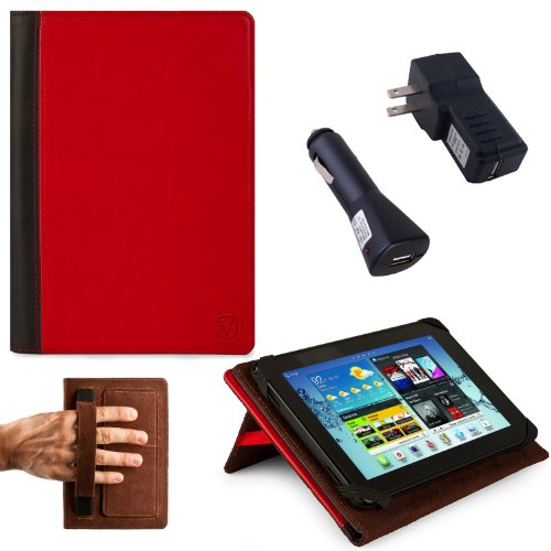 RED, Black Hard Cover Portfolio Jacket Mary Case, Stand Alone, Lightweight, Protective Slimline Sturdy, Flip Folio Book Style Design For Amazon Kindle Fire 7″ LCD Display, Wi-Fi Android Tablet + BLACK Travel USB Car Charger Kit + BLACK Travel USB Home Charger