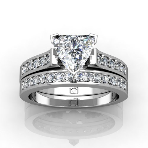 Platinum Beautifully Designed Contour Shank Wedding Set That Features Elegantly Set Round Brilliant Cut Diamonds 1/4 Ctw. This Item Includes A Free Cubic Zirconia Center In The Shape Shown.