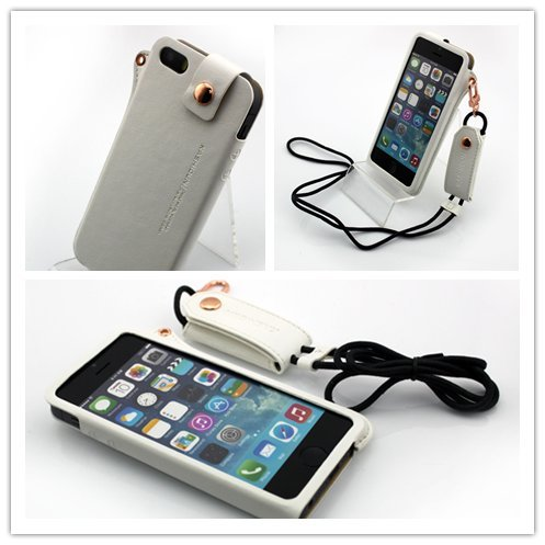 Nine States Ultra-Thin Pu Leather Back Cover Protection Shell High-End Business Type Case For Iphone 5 5G With Earphone Smart Cord Wrap & Hanging Neck Strap Color Varies White