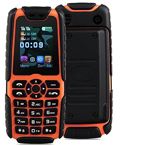 Padgene Outdoor SOS Handy Große Tasten Mobiltelefon Super Lang Standbyzeit Ohne Vertrag Blockhandy für Alter Senior mit Taschenlampe Kamera (LR-Orange)