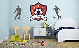 Custom Name - Soccer Bage & Players Boy Girl Mural - Baby\'s Mural Room Vinyl World Cup Wall Decal (Wide 20\