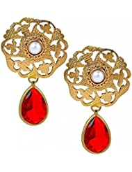 The Jewelbox Filigree Antique Gold Plated Emerald Red Pearl Dangling Earring For Women