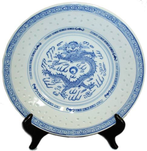 Traditional Dragon Blue and White Rice Grain Patterned Porcelain Plates - 8