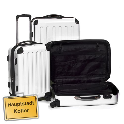 HAUPTSTADTKOFFER® · Three-piece hard-side suitcase Set WHITE high gloss · cabin luggage 45 liter (55 x 35 x 20 cm) + suitcase 87 liter (63 x 42 x 28 cm) + suitcase 130 liter (75 x 52 x 32 cm)