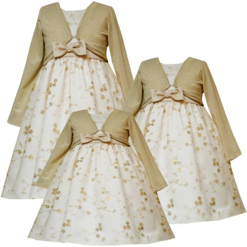 4d737292817ac Rare Editions Baby/Infant Girls 12M-24M 3-Piece IVORY GOLD SEQUIN  EMBROIDERED MESH OVERLAY Special Occasion Flower Girl Party Dress