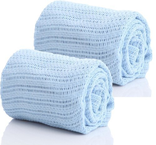 Pair-of-100-Pure-Cotton-Cellular-Baby-Blanket-for-Pram-Cot-Bed-Moses-Basket-Crib-in-Blue-Pink-or-White-2-x-Blue