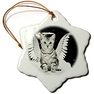 3dRose orn_62893_1 Gray Tabby Cat Angel Sitting on a Cloud with a Cute Halo and Angel Wings Snowflake Decorative Hanging Ornament, Porcelain, 3-Inch