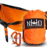 Premium Camping Hammock - Large Double Size, Portable & Lightweight. Aluminum Wiregate Carabiners Included. Ultralight Ripstop Parachute Nylon (Orange/Black)