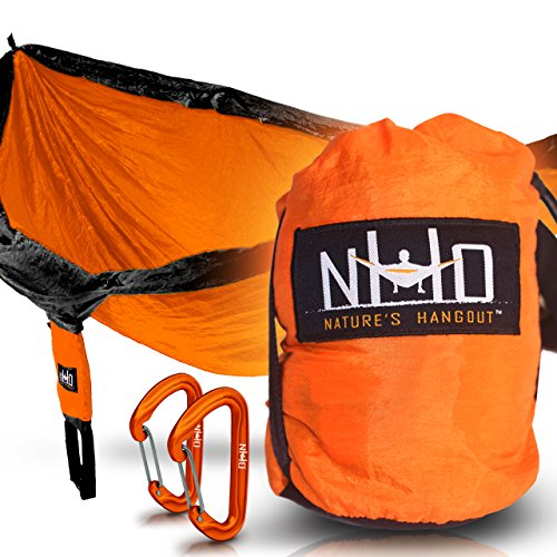 Premium Camping Hammock - Large Double Size, Portable & Lightweight. Aluminum Wiregate Carabiners Included. Ultralight Ripstop Parachute Nylon (Orange/Black) (Outdoor Wood Kayak Rack compare prices)