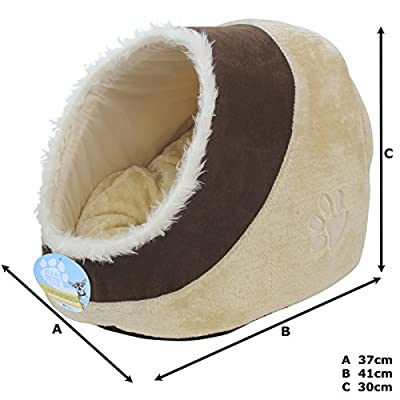 Me & My Soft Plush Igloo Pet Bed - Available in Grey/Black or Brown/Beige