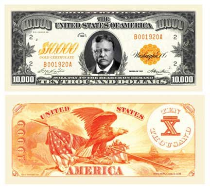 Set of 10 - $10,000.00 Gold Certificate Novelty Bill - 1
