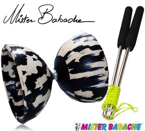 Diabolo Harlekin - Taille Medium - Baguettes en Aluminium - 2 Couleurs Noir/Blanc
