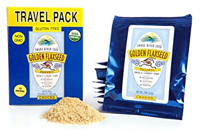 Farm Fresh 100% Natural Golden Flaxseed, Travel Pack, 10 single servings, Freshly Ground, Organic, Gluten-Free, Non GMO from Snake River Seed