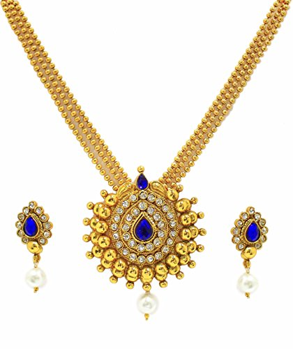 Zaveri Pearls Non-Precious Metal Multi-Colour Pendant Necklace With Earrings Set For Women