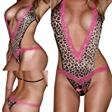 Crazycity New Hot Sale Pink Sexy Women Leopard Teddy Lingerie