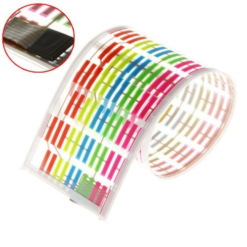 Colourful Flash 45X11Cm Car Sticker Sound Music Rhythm Led El Light Lamp Activated Equalizer