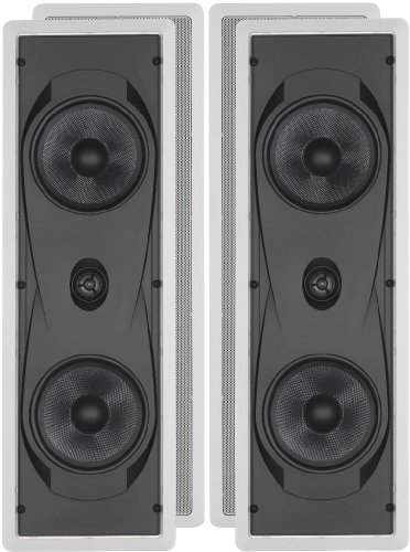 "Yamaha Natural Sound Custom Easy-To-Install In-Wall Flush Mount 2-Way 150 Watts Speaker Set (Pair Of 2) With 1"" Titanium Dome Swivel Tweeter & Dual 6-1/2"" Kevlar Cone Woofers For Enhanced Center Channel Or In-Wall Speaker Sound From Your Plasma Lcd Big Sc"