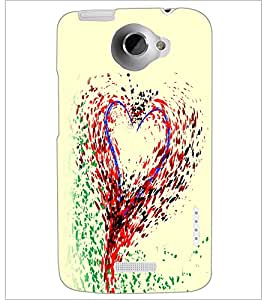 PrintDhaba Heart D-2244 Back Case Cover for HTC ONE X (Multi-Coloured)