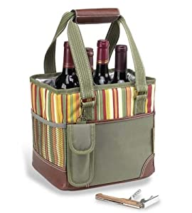 Picnic at Ascot Santa Barbara Collection Canvas Ice Bucket with Removable Bottle Divider