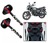 Capeshoppers Black Skull Indicator Set of 2 For Honda Shine Disc - Red