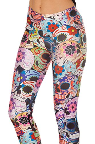 Roseate Women's 3D Digital Print Leggings Workout Running Tights Skull Flower