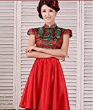 100% Brand New 2014 Chinese Cheongsam Embroidery Short Skirts Bridal Gown Wedding Dress Party Dress