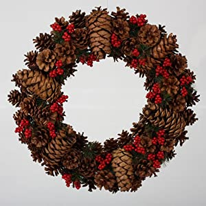 "20"" Pine Cone with Red Berries Artificial Christmas Wreath"