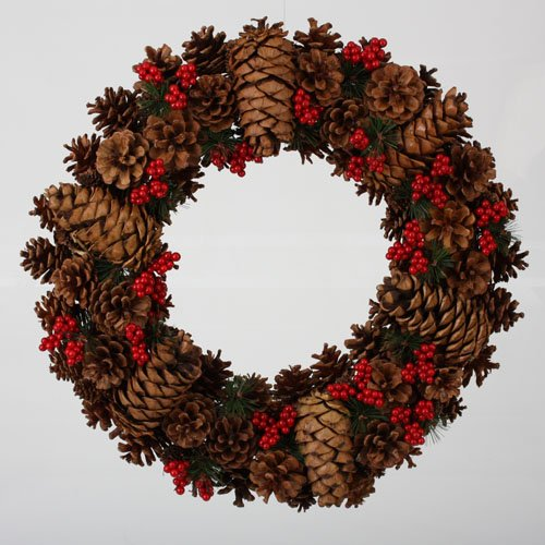20″ In the Birches Mixed Pine Cone  Red Berries