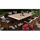 Teak Sitzgruppe Java-X Garten Garnitur Tisch (200x100) und 6 Sessel / Stühle Rattan und recyceltes Teak