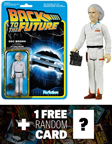 Doc Emmett Brown: Funko ReAction x Back To The Future Action Figure + 1 FREE Classic Sci-fi & Horror Movies Trading Card Bundle (039165)