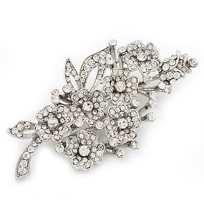 Large Clear 'Bunch Of Flowers' Brooch In Silver Plating - 10cm Length