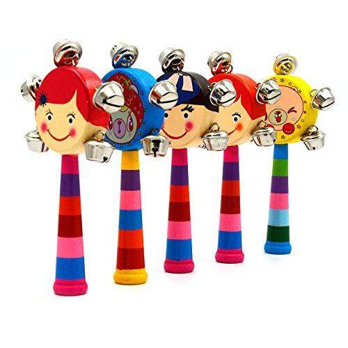 Hand-Held-Puppet-Kopf-Trommel-aus-Holz-Musikinstrument-Handbell-Menge-1-zufllige-Farbe