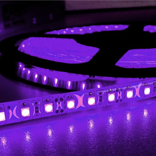 16.4Ft (5M) Purple Waterproof Flexible Led Strip Lights - 12V 4A 600Leds/Pc 3528 Led Tape Light - Waterproof Ip65