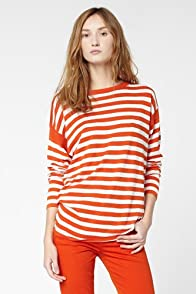 Long Sleeve Lightweight Stripe Boatneck Sweater