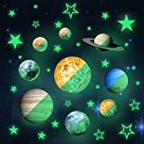 36pcs Removable Glow in the dark Planet Wall Stickers 9pcs with 27pcs stars Stickers ,Solar System Glowing Planets Wall Decals Peel Stick art Decor for Walls Ceiling Kids Bedroom Living Room (Color: 36pcs)