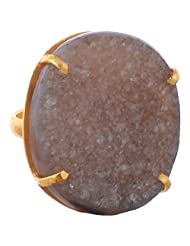GJ Creation Gold Plated Druzy Studded Ring For Women - B00N8Q445U
