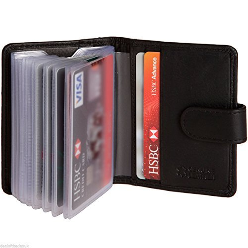 Mens Genuine Real Leather Small Credit Card Wallet Black Brown