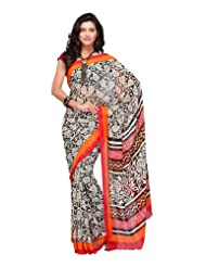 Fabdeal Women Indian Designer Printed Saree Black, Off White & Orange